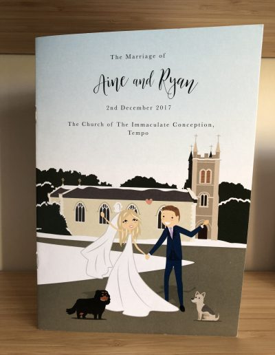 Aine and Ryan order of service with character illustration