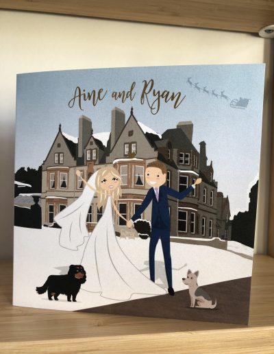 Aine and Ryan wedding invitation with character illustration