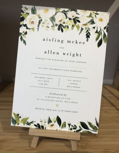 Aisling and Allen floral wedding invitation