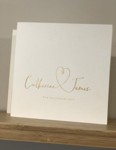 Catherine and James Foil wedding invitation