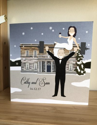 Cathy and Sam wedding invitation with character illustration