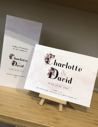 Charlotte and David floral wedding invitation