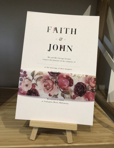 Faith and John floral wedding invitation
