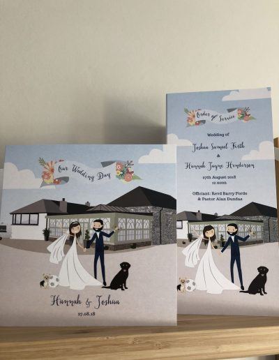 Hannah and Joshua wedding suite with character illustration