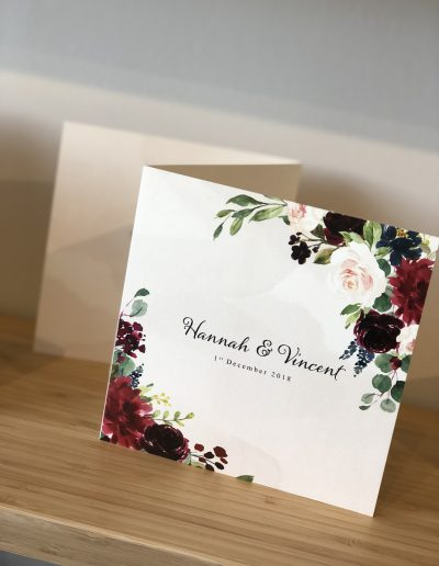 Hannan and Vincent floral wedding invitation