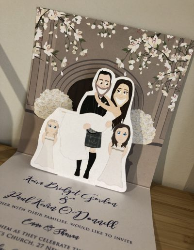 Character pop up wedding invitation