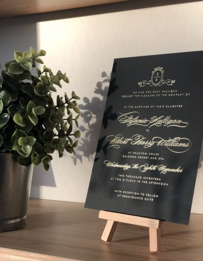 Stephanie and Robert wedding invitation with foil