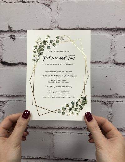 Patricia and Tom foil with botanical effect wedding invitation