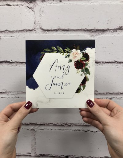 Amy and Jamie floral wedding invitation