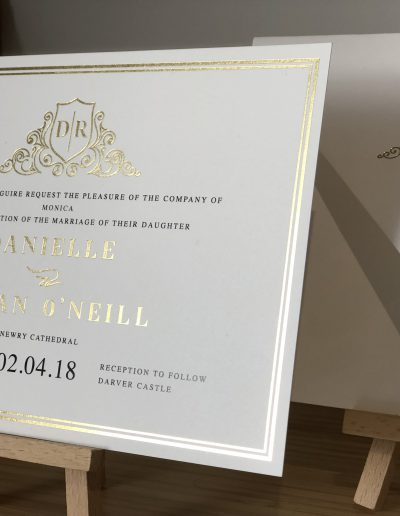 Danielle and Robert gold foil wedding invitation