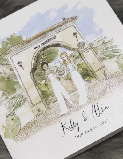 Kelly and Alba watercolour wedding invitation