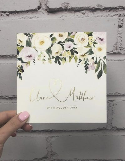 Clare and Matthew watercolour floral with gold foil
