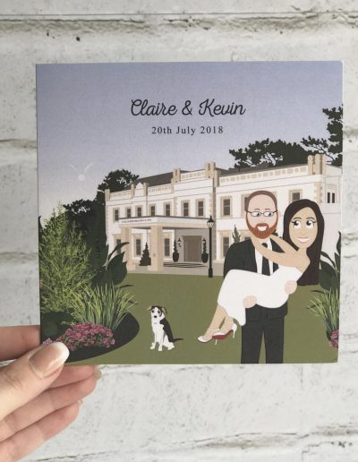 Claire and Kevin character wedding invitation