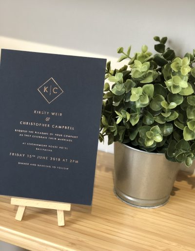 Kirsty and Christopher foil wedding invitation