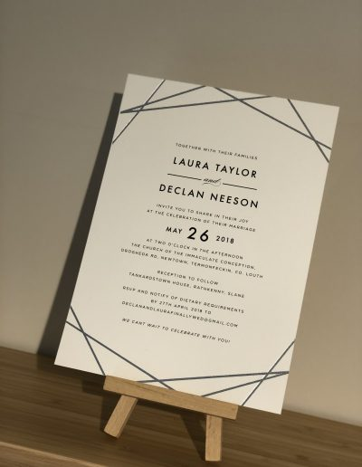 Laura and Declan foil wedding invitation