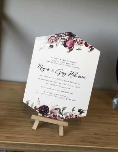 Megan and Gary floral wedding invitation