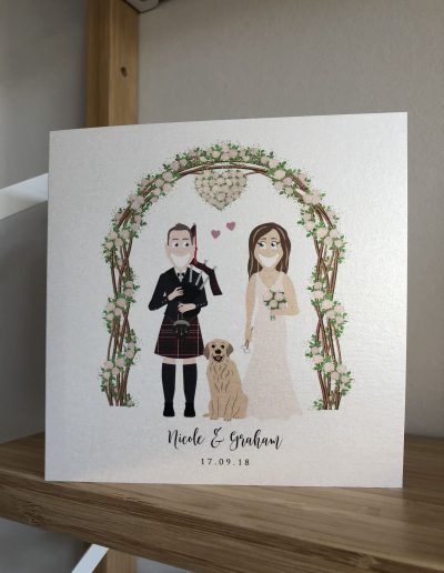 Nicola and Graham wedding invitation with character illustration