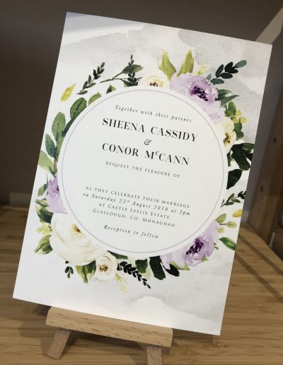 Sheena and Conor floral wedding invitation