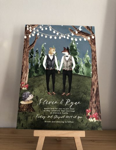 Steven and Ryan wedding invitation with animal character illustration
